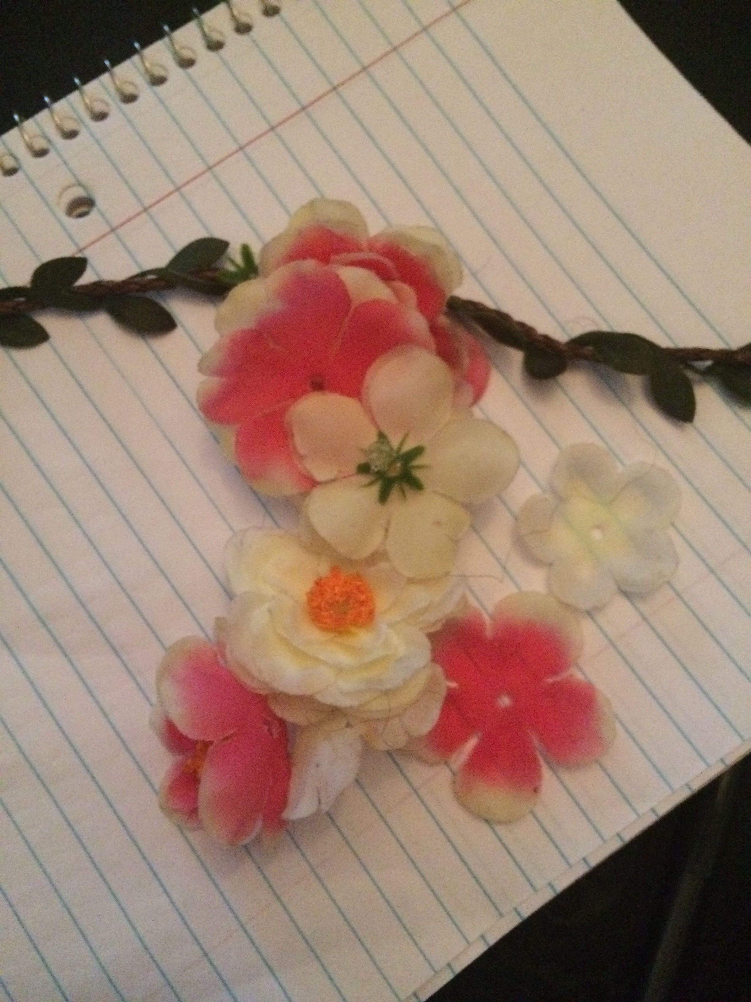 I took an old headband that was falling apart & used it as ...