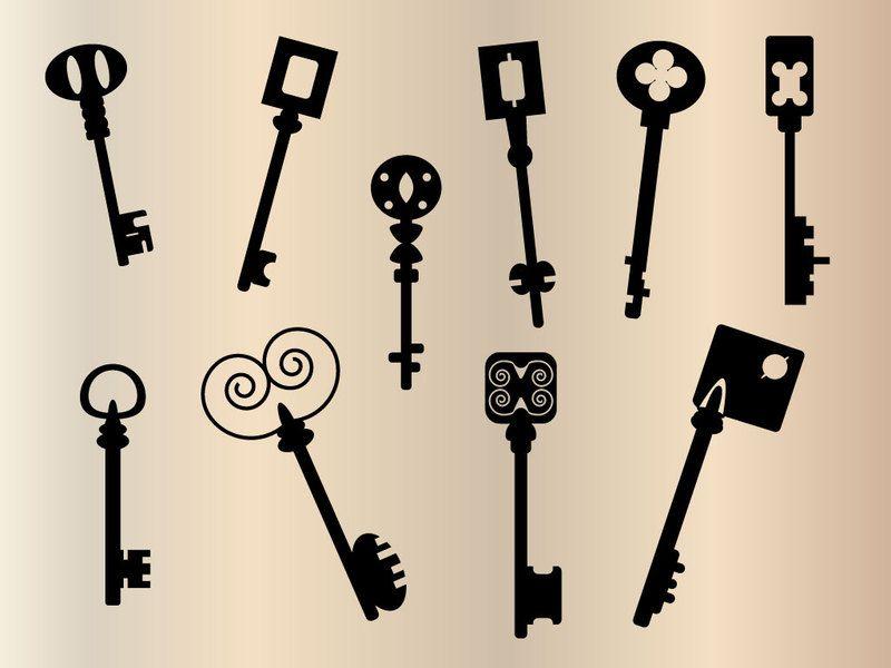 ヴィンテージな鍵 キー のシルエット イラスト素材 ベクターデータ