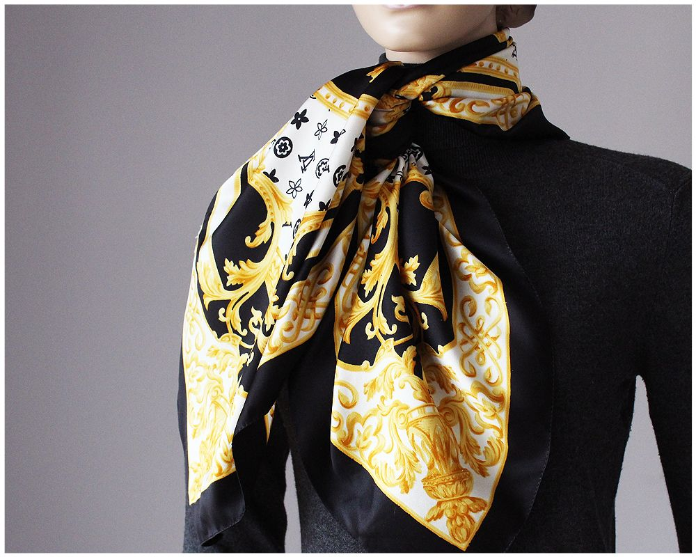 Apaszka Chusta Vintage Zlota Czarna Biala 7238952095 Oficjalne Archiwum Allegro Fashion Scarf Retro