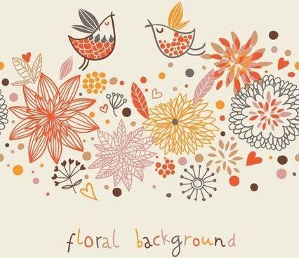 Stylish Floral Vector Background Bunga Grafis Wallpaper Bunga