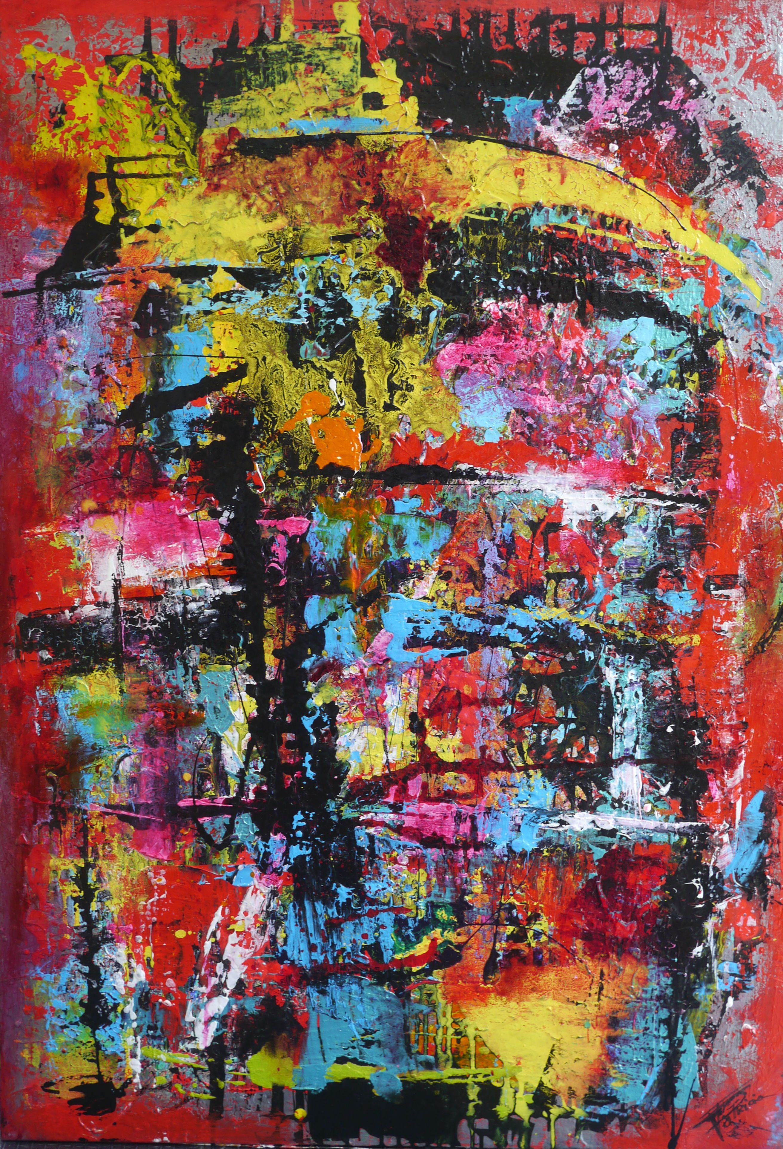 Peinture, Art Abstrait  Technique Acrylique, Vitrail & Glyc Ro