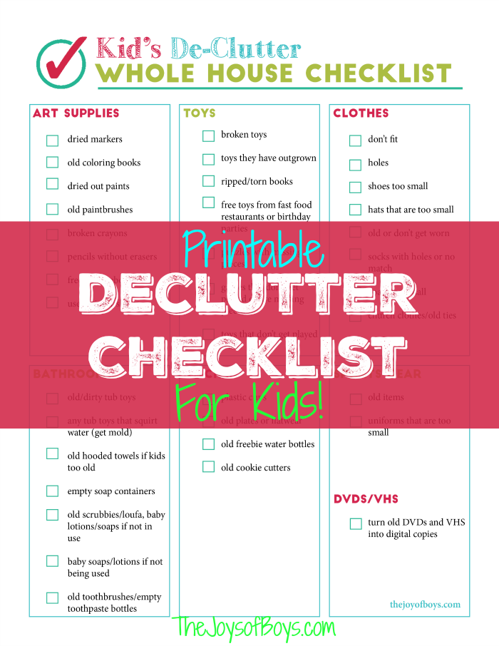 printable declutter checklist for kids clutter kid organizationclean housedecluttermy - How Do I Declutter My House