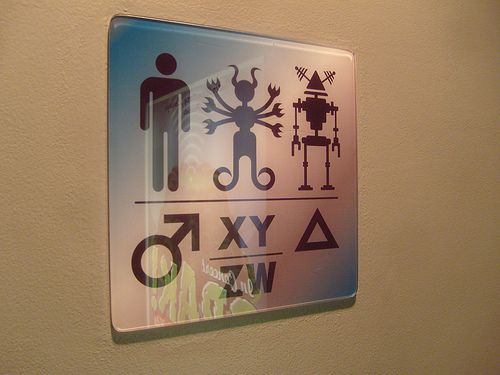 Extra Terrestrials And Robots Too Bathroom Signs Gender Neutral Bathroom Signs Neutral Bathroom