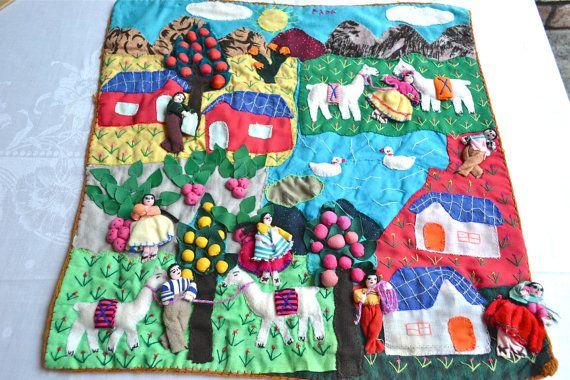Vintage Peruvian Folk Art Wall Hanging Panel - Hand Sewn Fabric ...