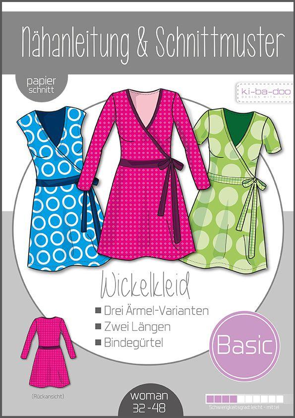 Damen Basic Wickelkleid Gr. 32-48 - DIN A 0 Schnittmuster und Anleitung als Broschüre #wickelkleidmuster