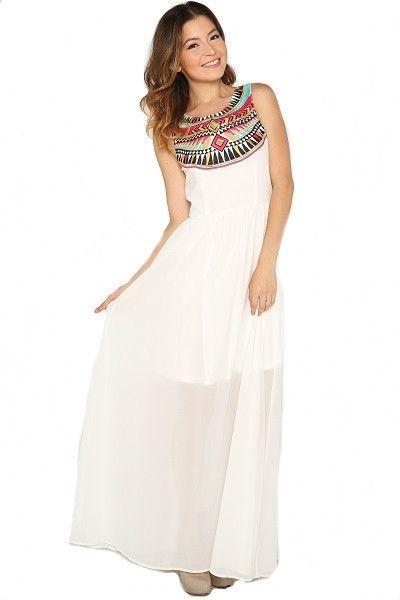 Life Changer Embroidered Maxi Dress - Off White | Daily Chic