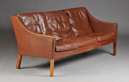 The Borge Mogensen 2207 3 seat leather sofa designed by Borge
