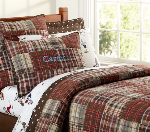 Madras Quilted Bedding Pottery Barn Kids Red Brown Gavin