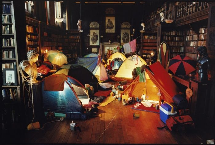 Camp out in the library - you'll have more adventures there than you ever would in the wilderness...