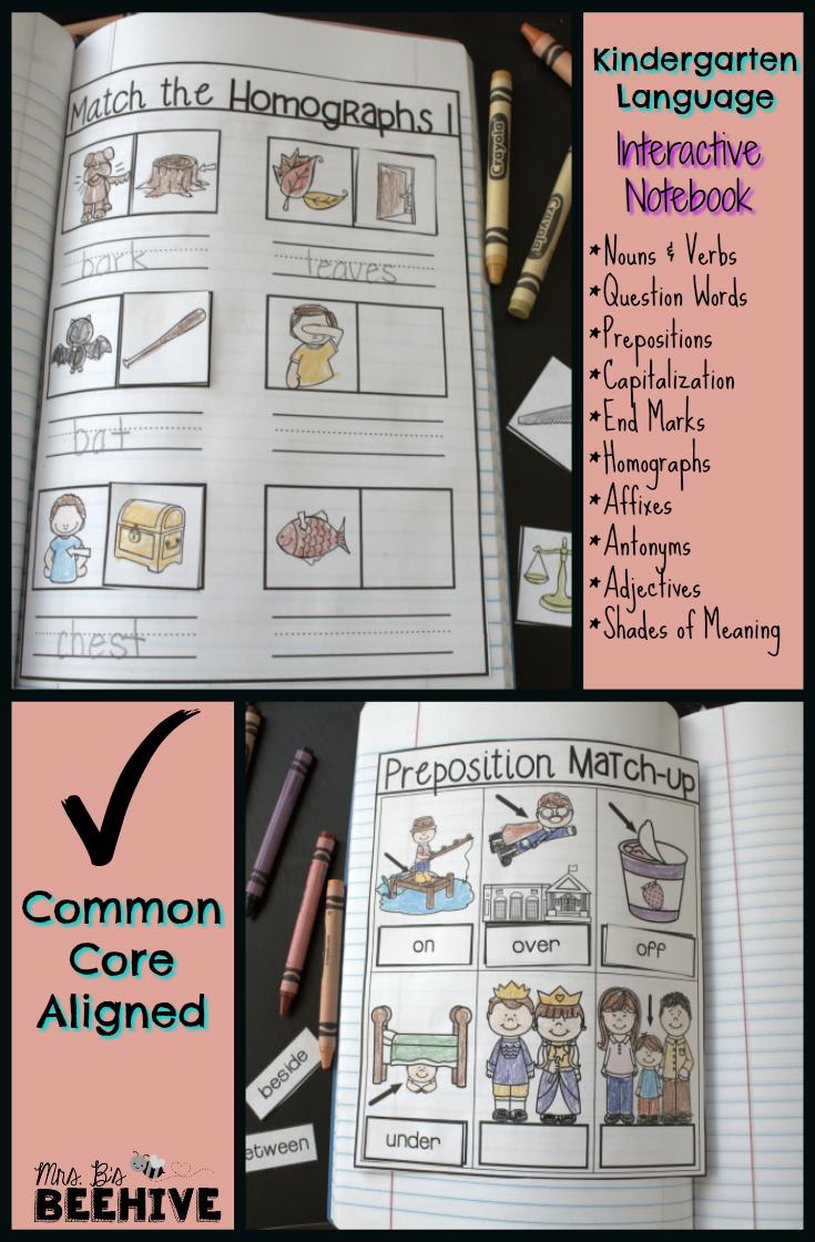 Kindergarten language interactive notebook common core aligned kindergarten language interactive notebook common core aligned covering nouns verbs prepositions capitalization kristyandbryce Image collections