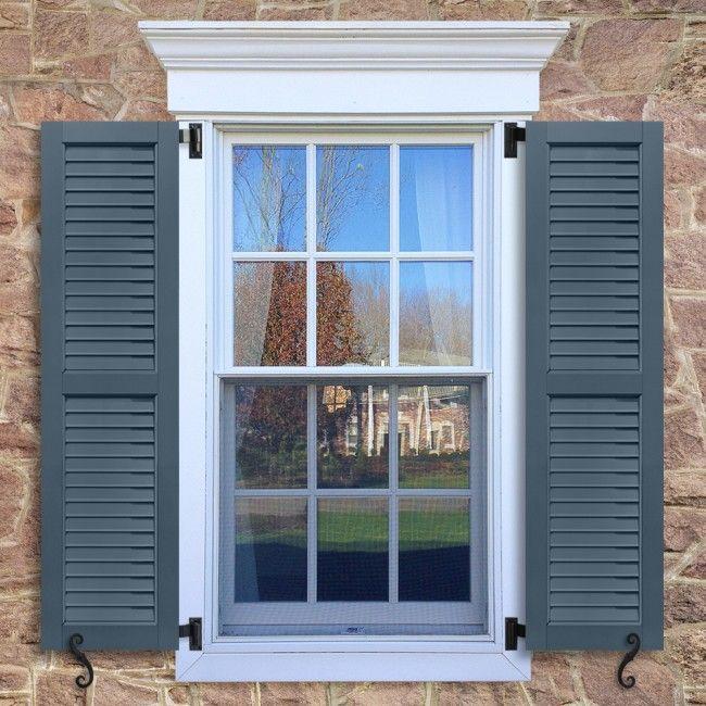 Fundamentals Louver Shutters Featuring A 50 50 Split Configuration Fundamentals Composite Wood Louv Window Trim Exterior House Shutters Window Shutters Diy