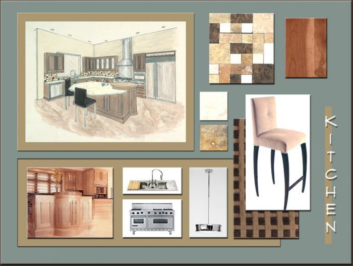 Rendering And Materials Board Interior Design Idea In San Diego