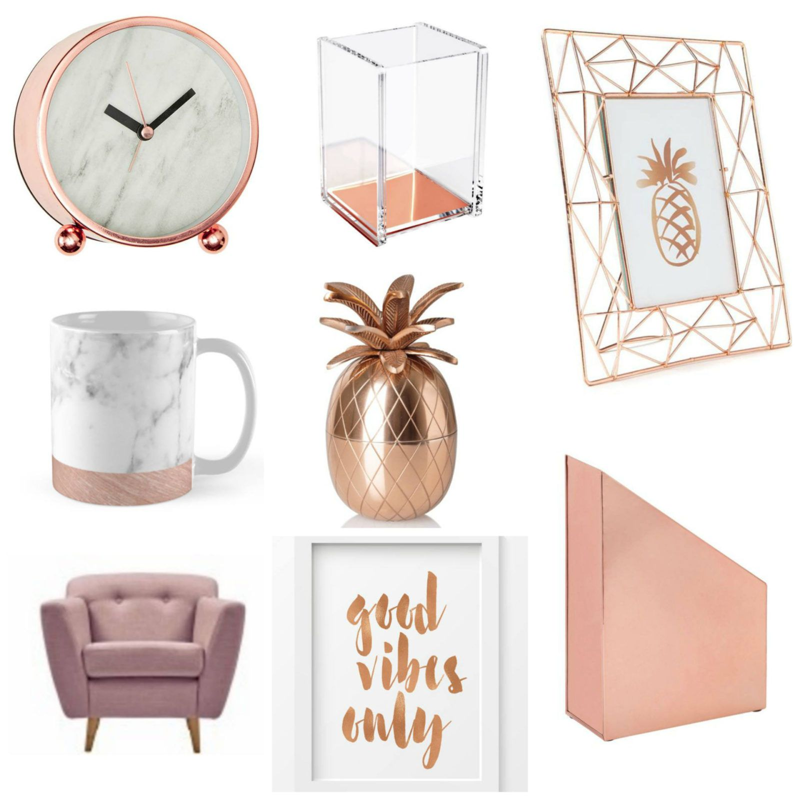 A bloggers office blush pink and rose gold rose gold