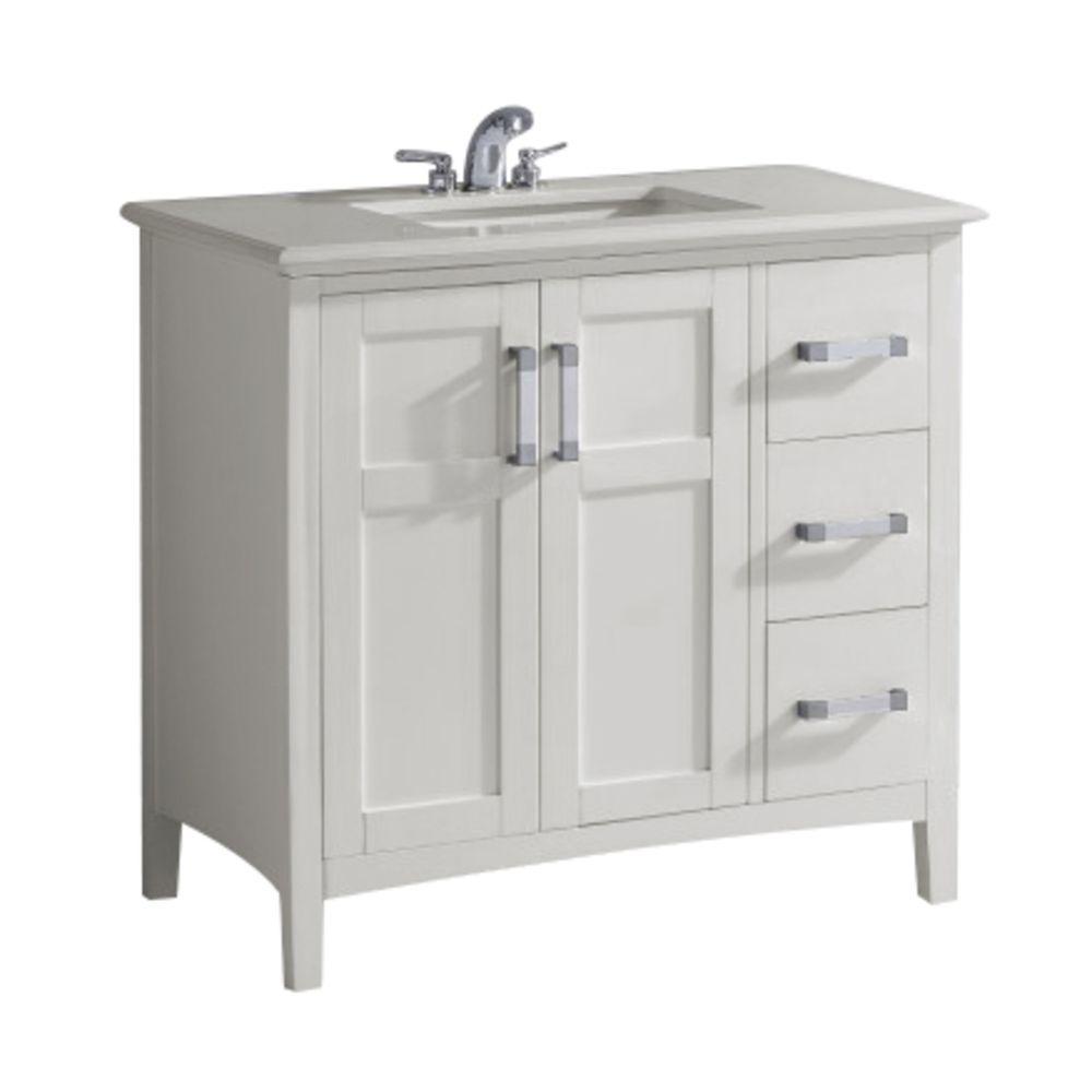 Simpli Home Winston 36 In Bath Vanity In Soft White With Quartz