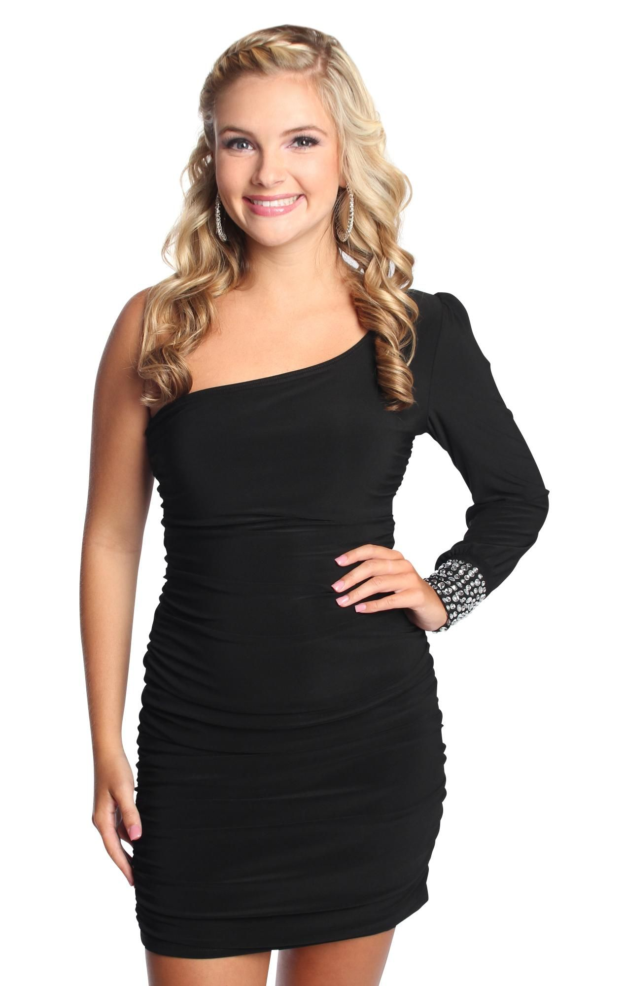 One shoulder tight club dress with rhinestone stone cuff