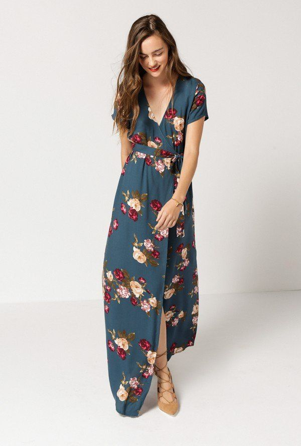 91ee10717c164 Azalea - Floral Wrap Maxi Dress | wearables | Wrap dress floral ...