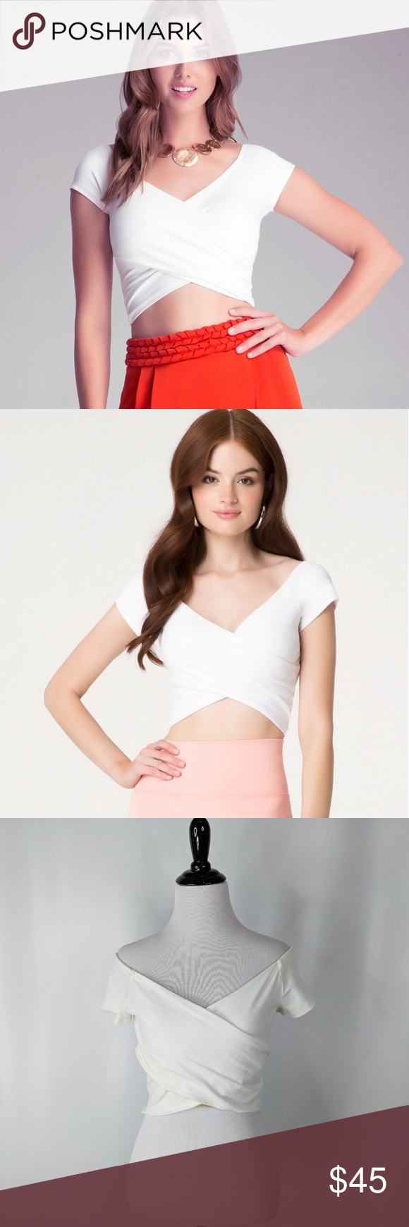 76b75341301475 BEBE white knit wrap off shoulder crop top NWT 186 BEBE white knit wrap off  shoulder crop top NWT. Short and fabulous. Show off your luxurious style  wearing ...