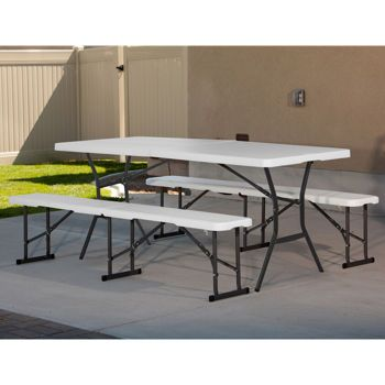 Costco Lifetime 6 Fold In Half Table With 2 Fold In Half Benches