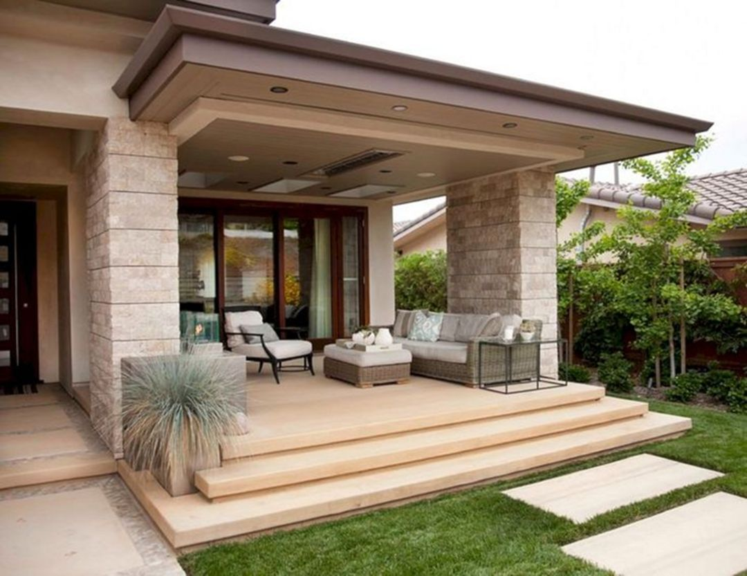 15 Beautiful Front Porch Ideas For Charming Inspiration Tiny House Minimalist House Design Modern Outdoor Living Porch Design Backyard porch ideas for houses