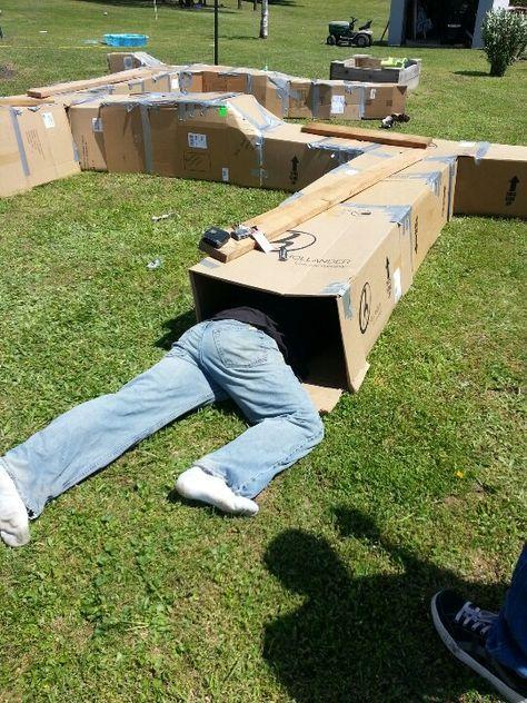 Photo of Ein # CardboardBox-Angriffskurs! Genius! Weitere Partyspiele, Spiele im Freien, Sommer …