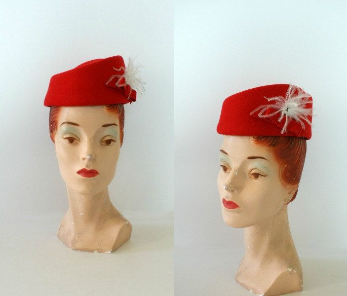 Vintage 1940s 50s Red Wool Hat Womens Holiday Red Winter Hat Sapka