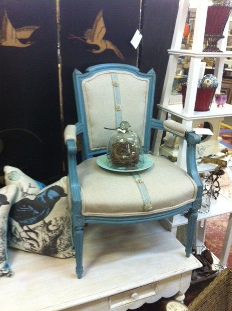 At the Sleepy Poet Antique Mall in Charlotte, NC - Gorgeous Revamped Vintage Chair! At The Sleepy Poet Antique Mall In