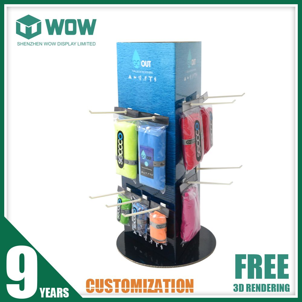 Pos Cardboard Countertop Rotating Display Stand With Hangers