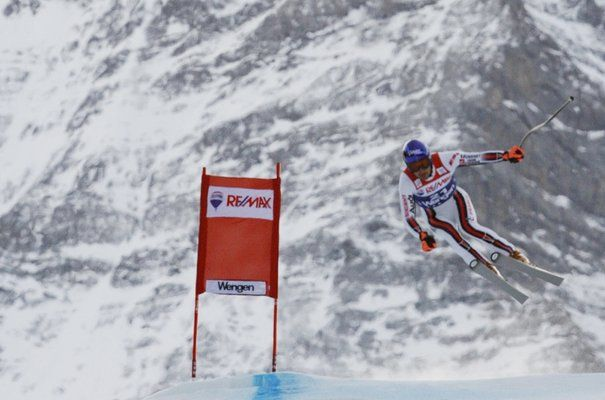 Grange is a slalom specialist but brave enough to take his chance at Wengen. Here, winning the super-combined in 2008.