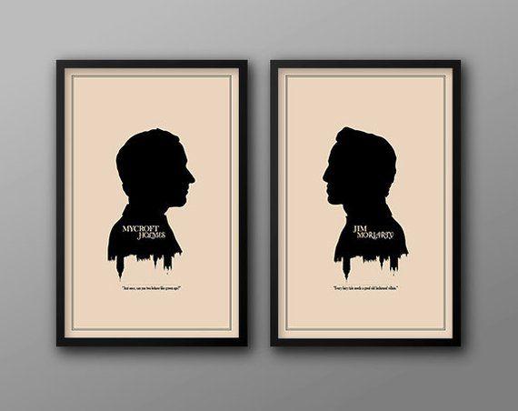 SHERLOCK Minimalist Heads Poster Wall art Posteritty Holmes Watson Cumberbatch