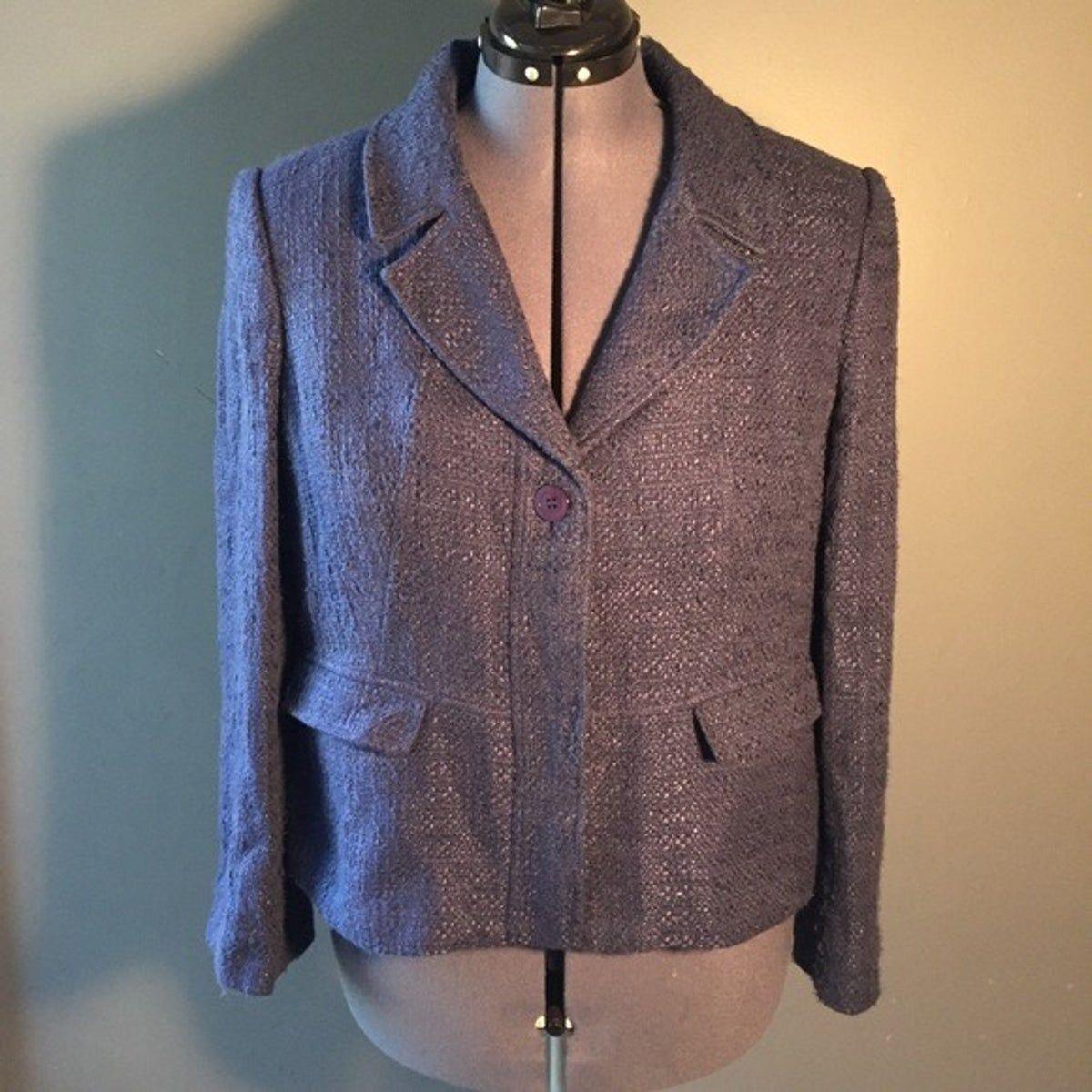 Viyella Button Down Blazer Coat NavyBlue