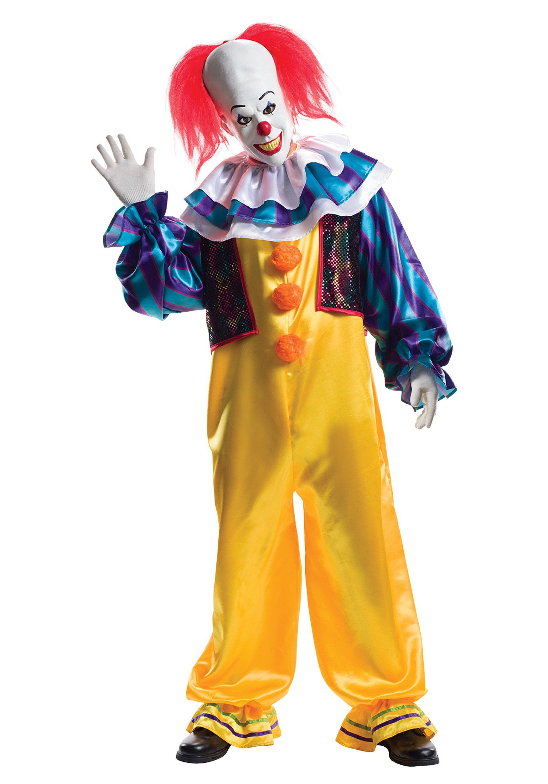 Mens IT Pennywise Costume with Wig Cosplay Scary Clown Halloween Fancy Dress M//L