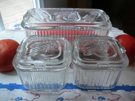 Vintage Refrigerator Dish Set of 3, clear ribbed glass