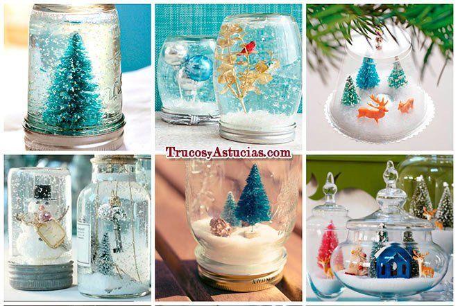 bolas de nieve caseras hechas con manualidades para decorar en - manualidades para navidad