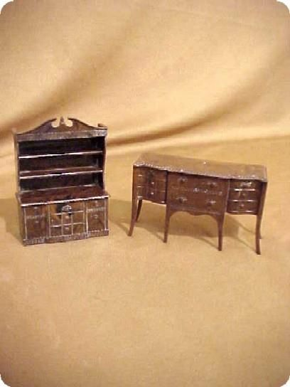 children's dolls from the 1950's | Renewal Doll House Miniature Furniture Hutch & Buffet 50s Signed 2 Pc ...