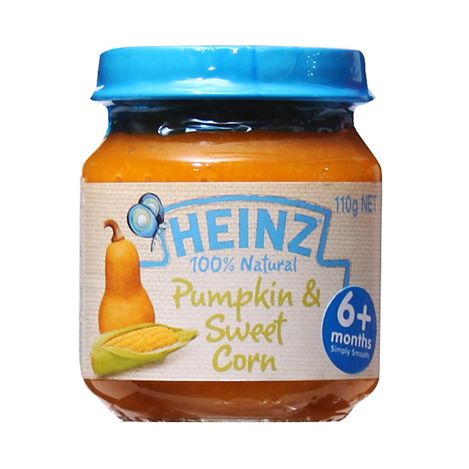 Heinz 100 natural pumpkin and sweet corn baby food