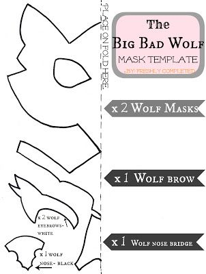 Felt Wolf Mask Template Maybe Not This Exactly But Something Similar Would Be Easy For People To Make