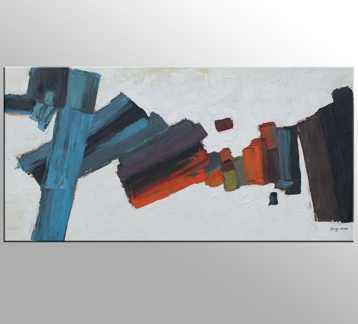 Abstrakte Malerei, Leinwand Kunst, schwarz-weiß Wandkunst, große ...