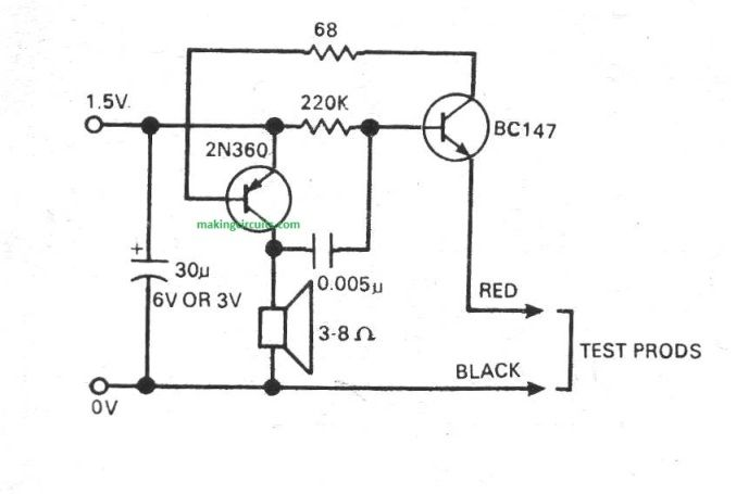 continuity tester circuit project b2b electronic components