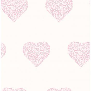 Best Carousel Pearlescent Hearts Wallpaper Pink White Heart 400 x 300