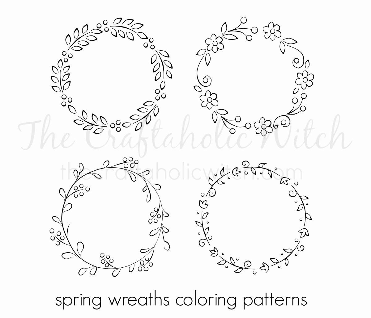 Flower Wreath Coloring Page Awesome Spring Wreath Coloring