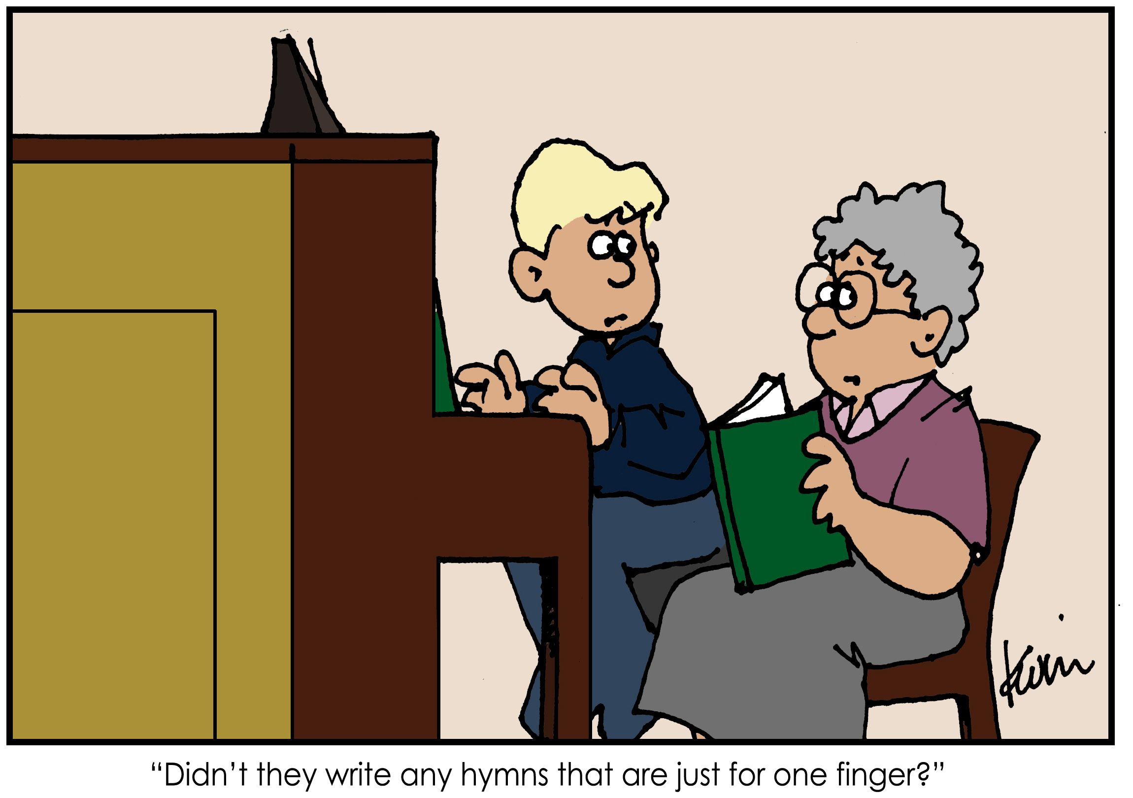 hymns cartoon copyright by Kevin Beckstrom used with