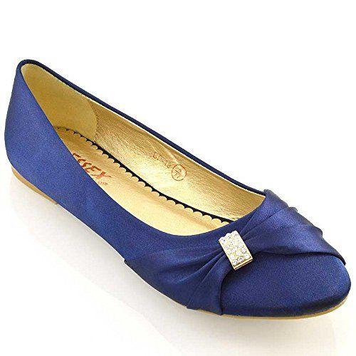 Womens Bridal Flats Satin Pumps Shoes ESSEX GLAM TJIEtOI8