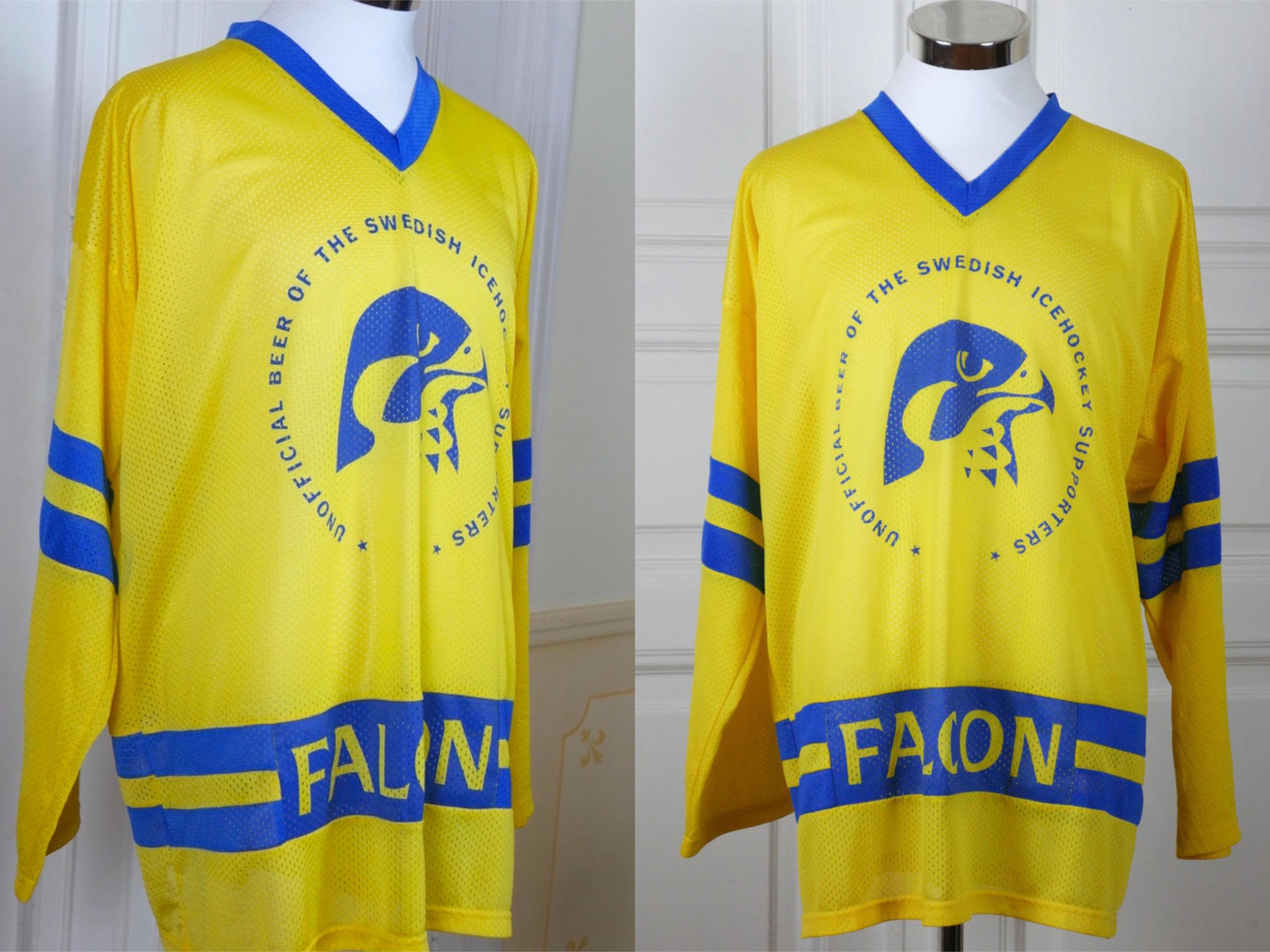 Swedish Vintage Hockey Jersey Yellow Blue Ice Hockey Jersey Lightweight Breathable Falcon Beer Klass Iii European Hoc Jersey Sweater Hockey Jersey Fan Shirts