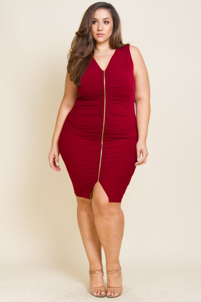 32e61f36ccd Sexy V-neck bodycon midi dress Featuring zip down detail with ruched texture  Model is wearing 1X 95% Polyester