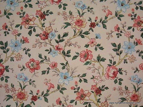 1940s Vintage Wallpaper Romantic Rose Chintz Lovely Floral Design