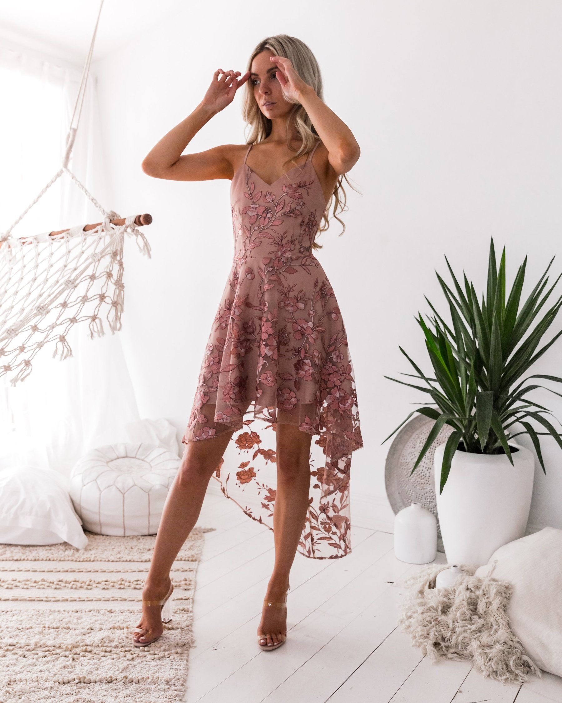 b65e50b5c9 SASKIA High Low Embroidery Dress (Rose) in 2019