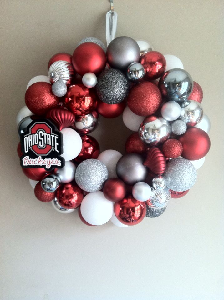 Ohio State Buckeyes Ornament Wreath | Ornament wreath ...