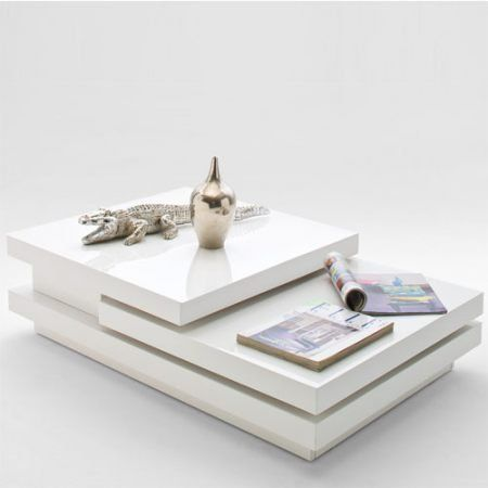 Design Couchtisch LEVEL Hochglanz Weiss 2 Drehbare Platten 110x70cm