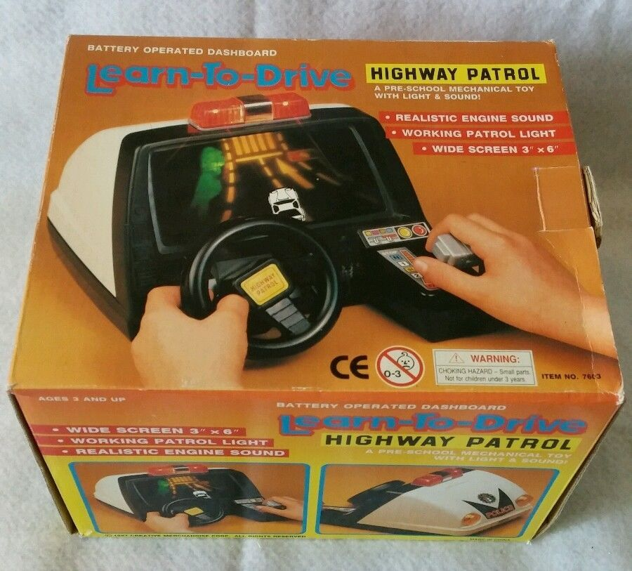 Vintage Learn To Drive Highway Patrol Dashboard Toy Works Police Car With Box Learning To Drive Police Cars Electronics Games