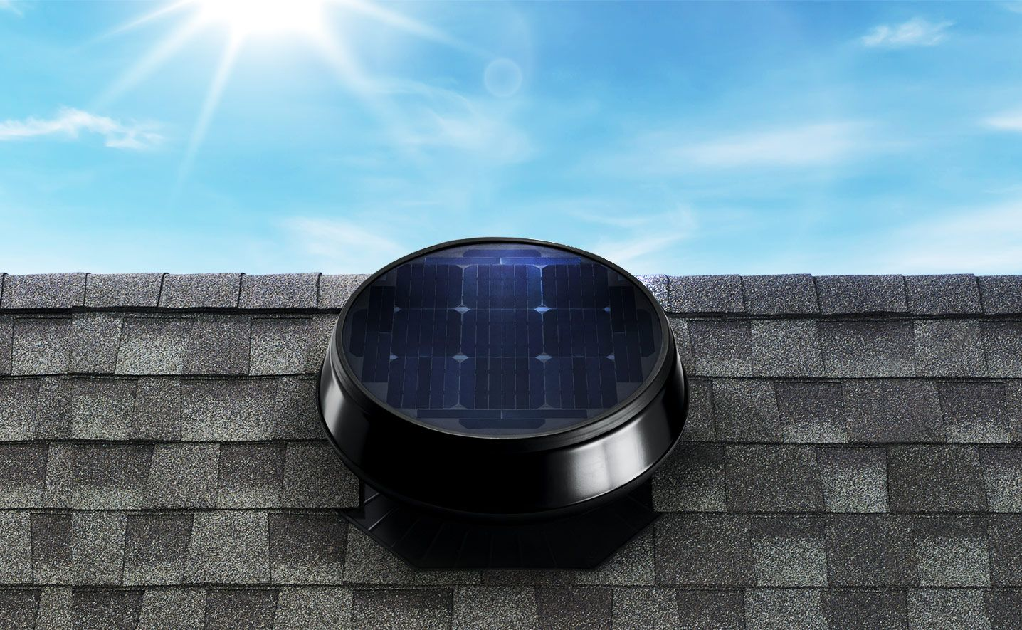 Imagen De Un Ventilador Atico Con Energia Solar Solar Powered Attic Fan Attic Fans Solar Attic Fan